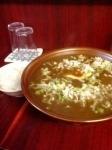「カレー麺(麺多め)+半ライス(サービス)」@二代目めん家 味味の写真