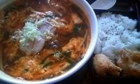 「テグタンラーメン + から揚げ弁当」@広東酒家 らくらく 東池袋支店の写真