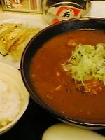 「カレーラーメン(¥680)+ランチサービスのセット(無料)」@ラーメン町っ子の写真