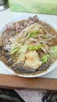 「ラーメン コマ切れ豚 魚粉 ニンニクマシマシ アブラマシ 味濃い」@ラーメン大 我孫子店の写真