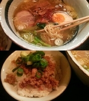 「地鶏塩らーめん+肉そぼろ飯」@麺屋 いっこくの写真