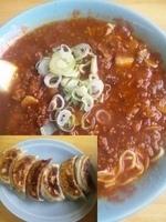 「辣辣麺¥600+餃子大粒(6p)¥400」@竜園の写真