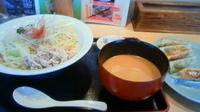 「豚しゃぶ豆乳担々つけ麺¥780+餃子(クーポン)」@らーめん ともや 高崎店の写真