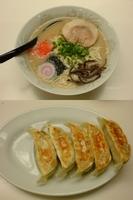 「豚骨ラーメン(メルマガクーポンで¥500)+替え玉+餃子」@らーめん・つけめん 満帆 太田本店の写真