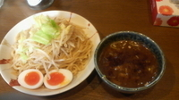 「特濃醤油つけめん(300g)+味玉+野菜」@麺屋 向日葵の写真