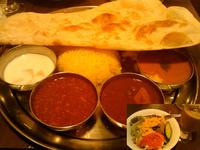 「3色カレー定食(バターチキン、アル・マタール、キーマ)@アイスチ」@ターリー屋 南新宿店の写真