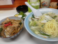「Bセット(タンメン+半生姜焼丼)(700円)」@風雷の写真