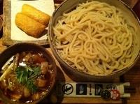 「みぞれ肉汁うどん(太打ち・大盛)+柚子いなり(2ヶ)」@山長の写真
