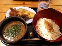 「京都らうめんつけ麺(なす天+とり天+舞茸天)」@京都のおうどん屋さん たなか家の写真