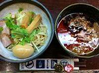 「辛つけ麺(麺少なめ→味付半熟玉子)+豚ほぐし」@つけ麺 もといしの写真