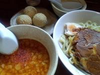 「雷醤つけ麺+ゴマ団子+杏仁豆腐」@喝力屋の写真