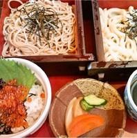 「合い盛り+ミニイクラ丼(714円+399円)」@すぎのや本陣 つくば学園店の写真