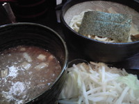 「つけ麺(麺少なめ、温野菜サービス)+極太メンマ」@つけ麺 もといしの写真