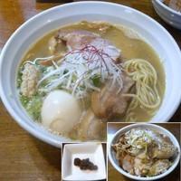 「【限定】渡り蟹+鶏+α」@はりけんラーメンの写真