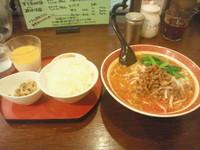 「楽山担担麺(750円)+ディナーセット(350円)」@楽山担担面 稔台店の写真