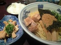 「魚介まぜそば(中盛)+メンマ(クーポン)」@三代目 ◯助 MARUSUKEの写真