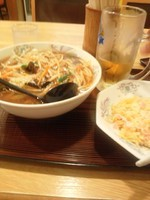 「サンマー麺650円、半チャーハン300円、生ビール」@八起の写真
