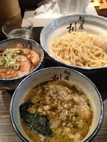 「味玉つけ麺850 炙りチャーシュー飯350」@麺屋 利休の写真