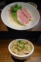 「『塩麹と豆乳の冷やしそば+鶏塩飯(¥880+350)』」@町田汁場 しおらーめん 進化の写真