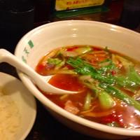 「宝天麺+ライス小」@とまとの里 信濃路 阿波座店の写真