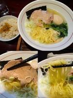 「海老塩らーめん(限定20食)おじや付き780円+味玉100円」@麺屋まるの写真