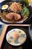 「黒こってりラーメン(750円)+イベントサービス品(煮玉子)」@朝日屋の写真