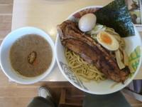 「ドでかチャーシューつけ麺+味玉+餃子(クーポン)」@つけめん 彩香 若葉店の写真