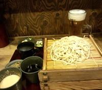 「二色・二枚盛り蕎麦+味噌小胡瓜+プレモル(計720円)」@嵯峨谷 神保町店の写真