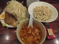 「つけ麺680円野菜マシ(クーポンで500円)&雷醤100円」@喝力屋の写真