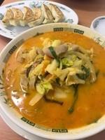 「モツ野菜ラーメン+餃子 740円」@日高屋 川崎銀柳街店の写真