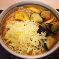 「名物カレーうどん(¥820)+チーズ+揚げなす」@若鯱家 中日ビル店の写真