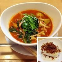「トマト麺とリゾットおむすびのセット」@トマト麺 Vegieの写真