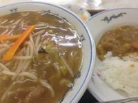 「もやしそば+半カレー【850円】」@幸楽の写真