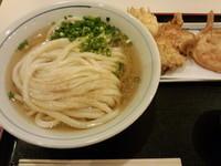 「冷かけ(中)+天ぷら3個」@手打うどん 長谷沼の写真