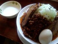 「雷醤味噌ラーメン+味玉(880円)+杏仁豆腐」@喝力屋の写真