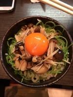 「キムチーズまぜそば&キノコご飯」@濃厚担々麺 はなび 蟹江店の写真