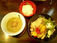 「GREEN SPICY CURRYつけ麺900円」@No One Style Cafeの写真