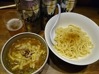 「カレーつけ麺¥880+納豆¥70+ビール他」@ラーメンアキラの写真