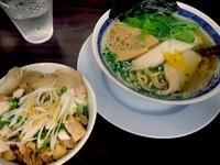 「汁 魚介塩730円+チャーシュー丼300円」@丸直の写真