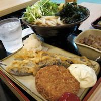 「肉うどん + 大盛 + 茄子天 + メンチコロッケ」@たも屋 有楽町店の写真