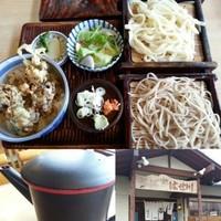 「舞茸天丼セット(舞茸天丼+うどん+そば)750円→500円」@そば処 はせ川の写真