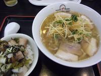 「みぞれラーメン+ミニ高菜焼豚丼(940円)」@喜多方ラーメン坂内 小法師 川口東口店の写真
