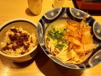 「朝食うどんセット(かやくご飯・ぶっかけ)500円」@水山 ecute品川サウス店の写真