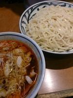 「ピリ辛肉つけ麺、大盛り」@つけめん でんまる 飯田橋店の写真