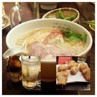 「ワハハ煮干しそば(塩)(出前)+串揚げ+ホッピー赤等」@串あげ ムタヒロの写真