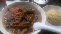 「麻婆ナス麺+半炒飯セット(594円)」@中華料理 谷記 錦糸町南口店の写真