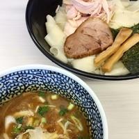 「ひもかわ濃厚つけ麺(出汁もり) 500円(メルマガサービス)」@濃厚鶏豚骨魚介つけ麺 かず屋の写真
