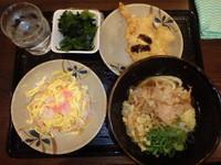 「冷やしぶっかけうどん(小)(290円)鶏天(120円)他」@こだわり麺や 高松店の写真