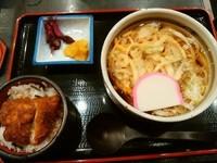 「温かいうどんセット(うどん+ミニカツ)880円」@登利平 高崎モントレー店の写真