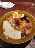 「w辛味噌ラーメン+味玉(クーポン)」@炎の味噌ラーメン 炎神の写真